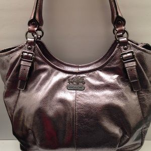 COACH silver metallic carryall tote Madison
